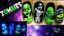 Halloween Scary Zombies ⎮ Glow in the Dark Freehand Nail Art Tutorial